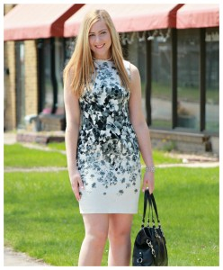 Black & White Floral Print Dress