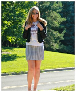Graphic T and Striped Skirt