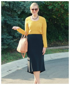 Mustard Blouse + Midi Skirt
