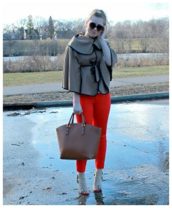 Red Pants + Cape Outfit