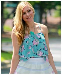 blue top white skater skirt
