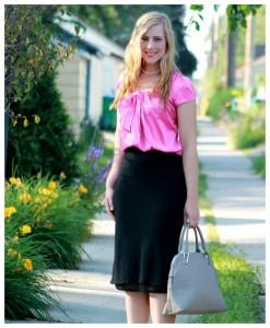 bow blouse + midi skirt