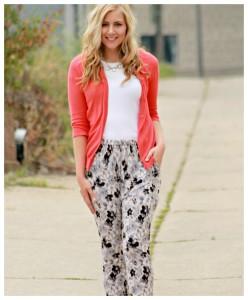 cardigan + floral print pants