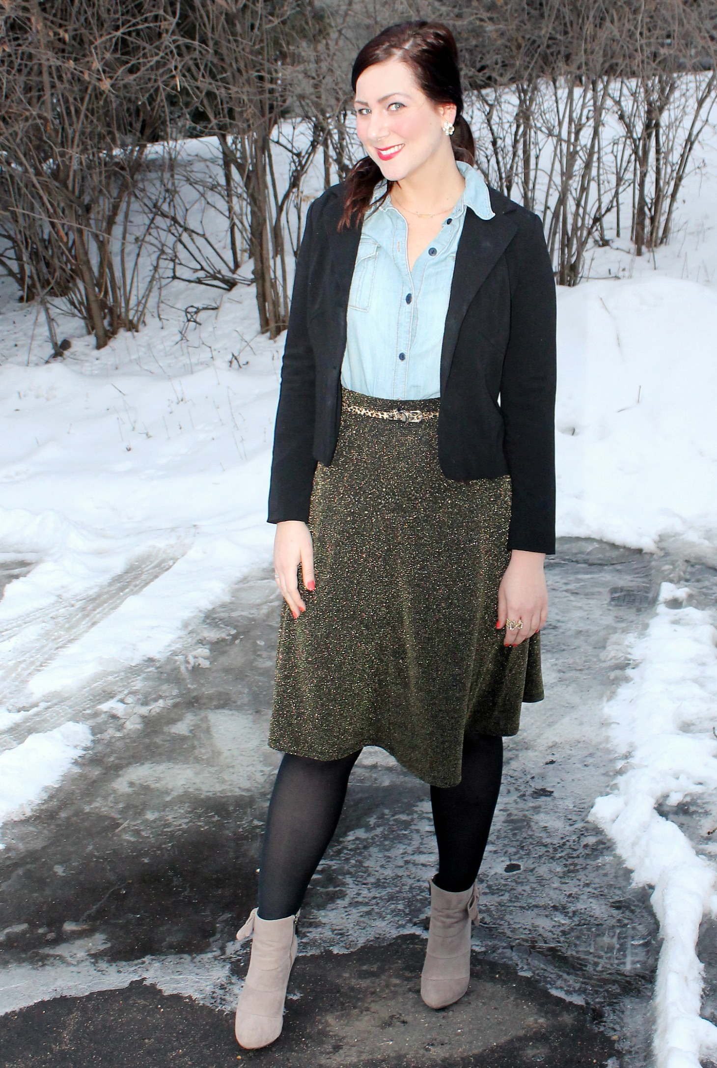 Chambray + Metallic Skirt 3