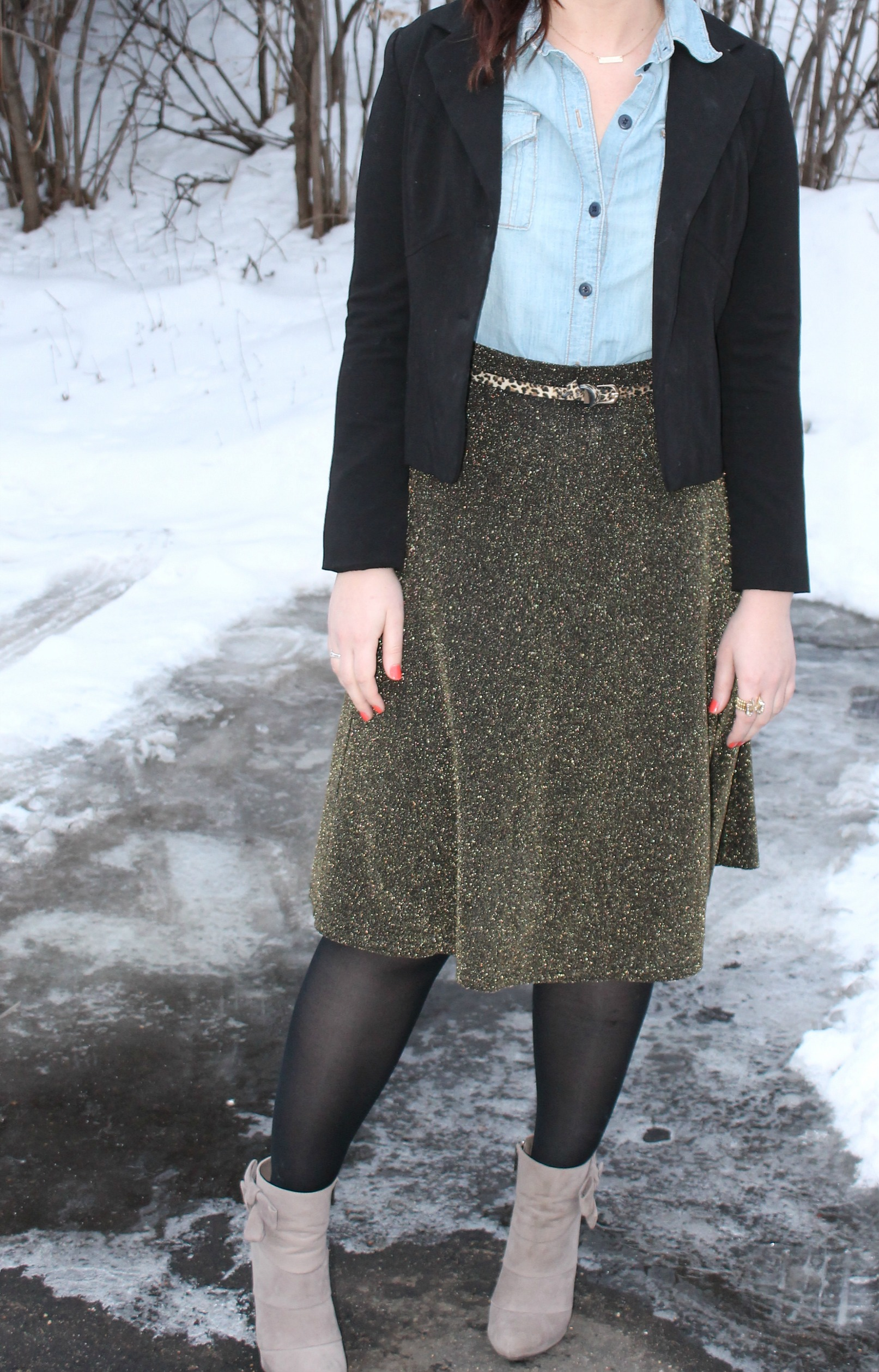 Chambray + Metallic Skirt 4
