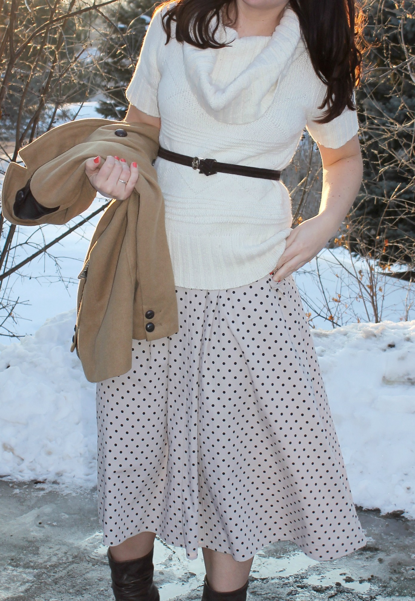 polka dot maxi_cowl neck sweater 4
