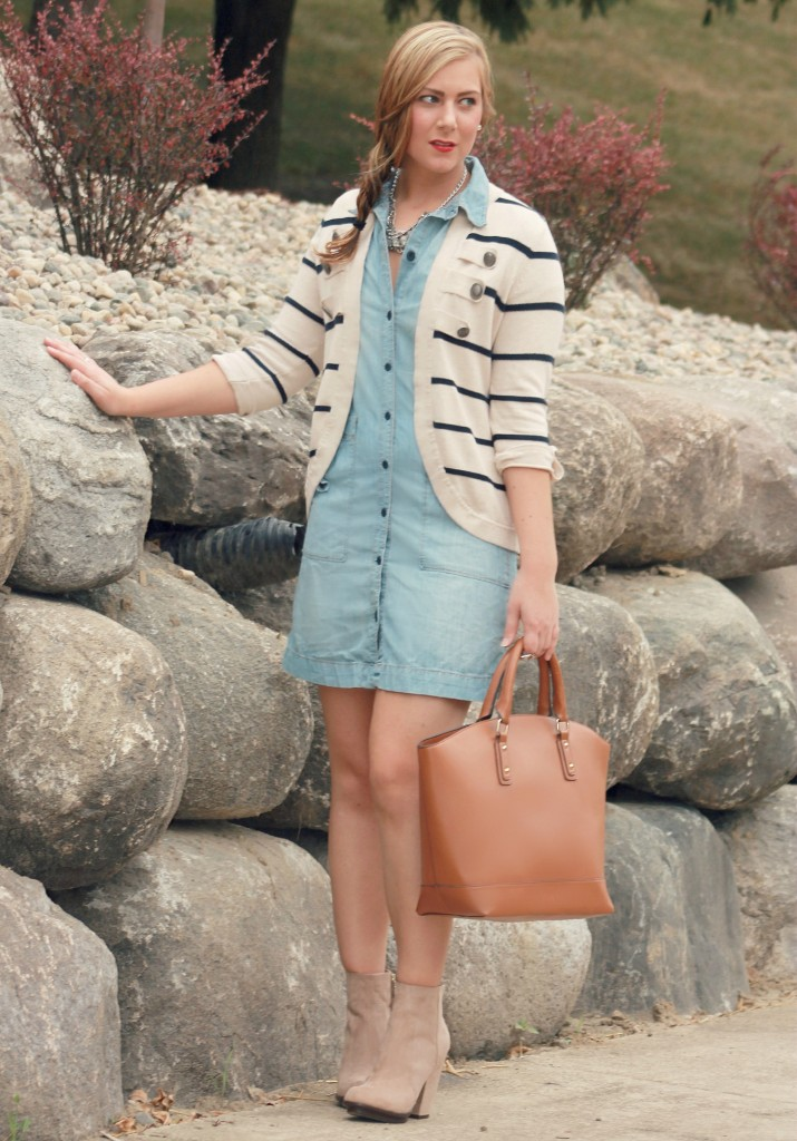 JustFab Tote and Zara Booties, booties, ankle boots, zara, cardigan, denim dress
