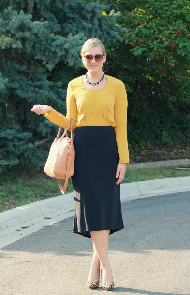 Mustard Blouse, how to wear mustard, Simply Vera by Vera Wang, Fall Style, Gap Skirt, Midi Skirts, Leopard Heels, Statchel Bag, JustFab Audrey Bag