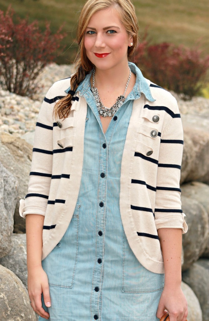 Striped Cardigan and Red Lips, red ysl lipstick, red muse lipstick, ysl red muse, braid, hairstyles, easy hairstyles, striped top, dress