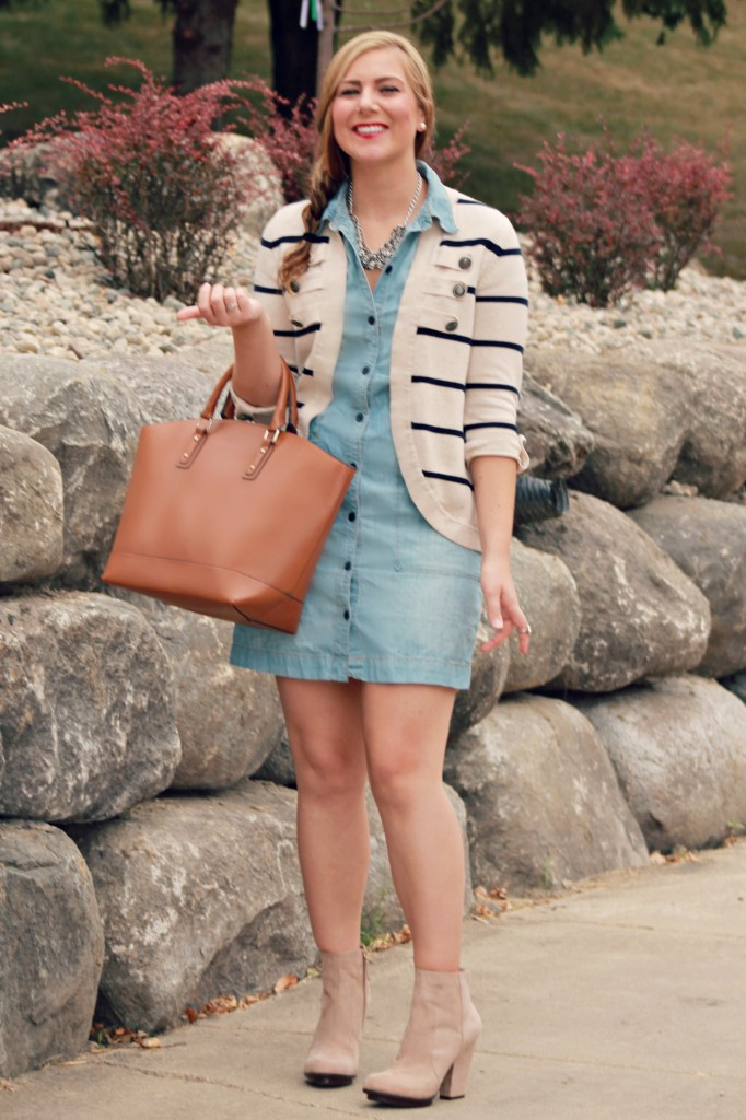 Stripes and Denim, denim dress, lucky brand denim, lucky brand denim dress, striped cardigan