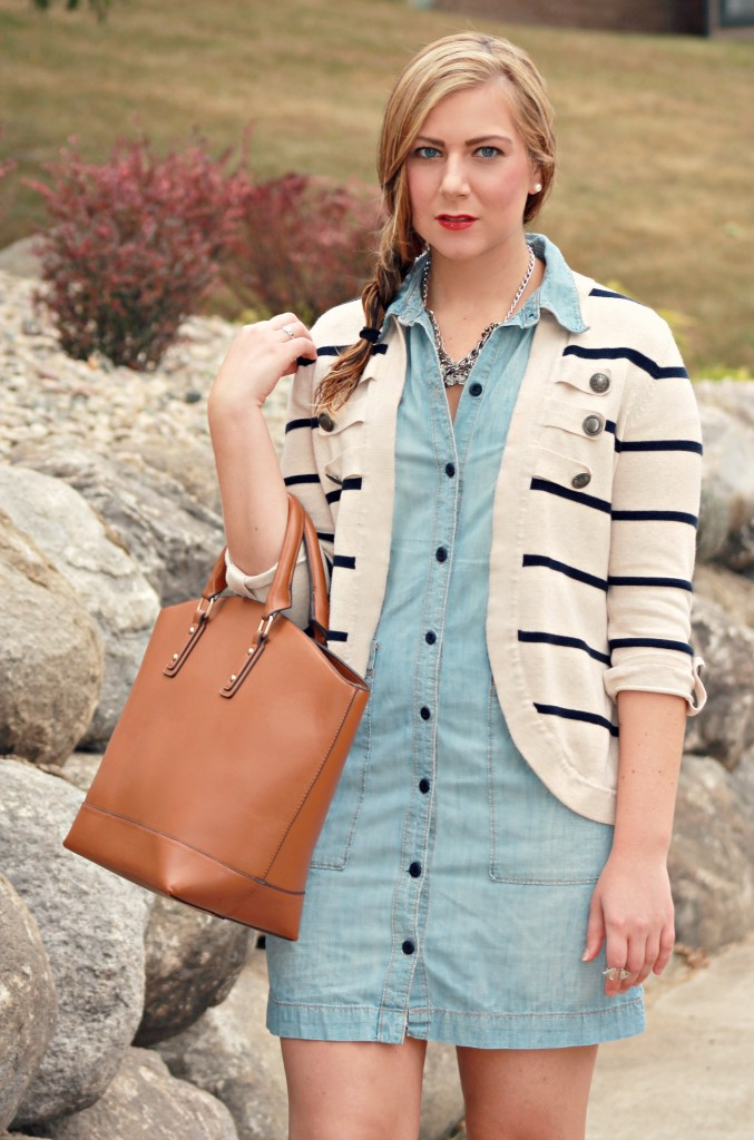 Tote and Striped Cardigan, braid, red lipstick, red lips, YSL red lipstick, striped cardigan
