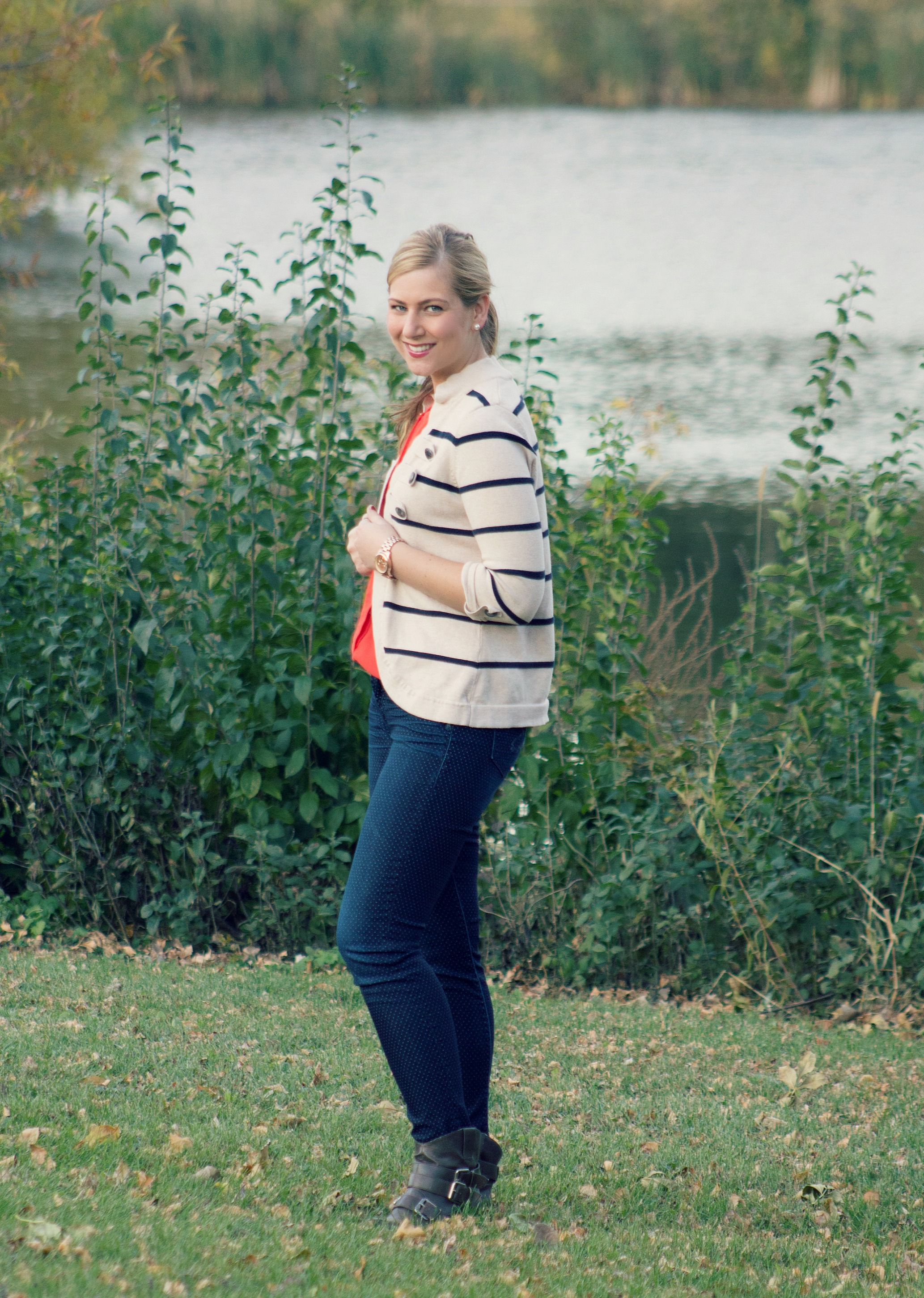 Striped cardigan, polka dot jeans