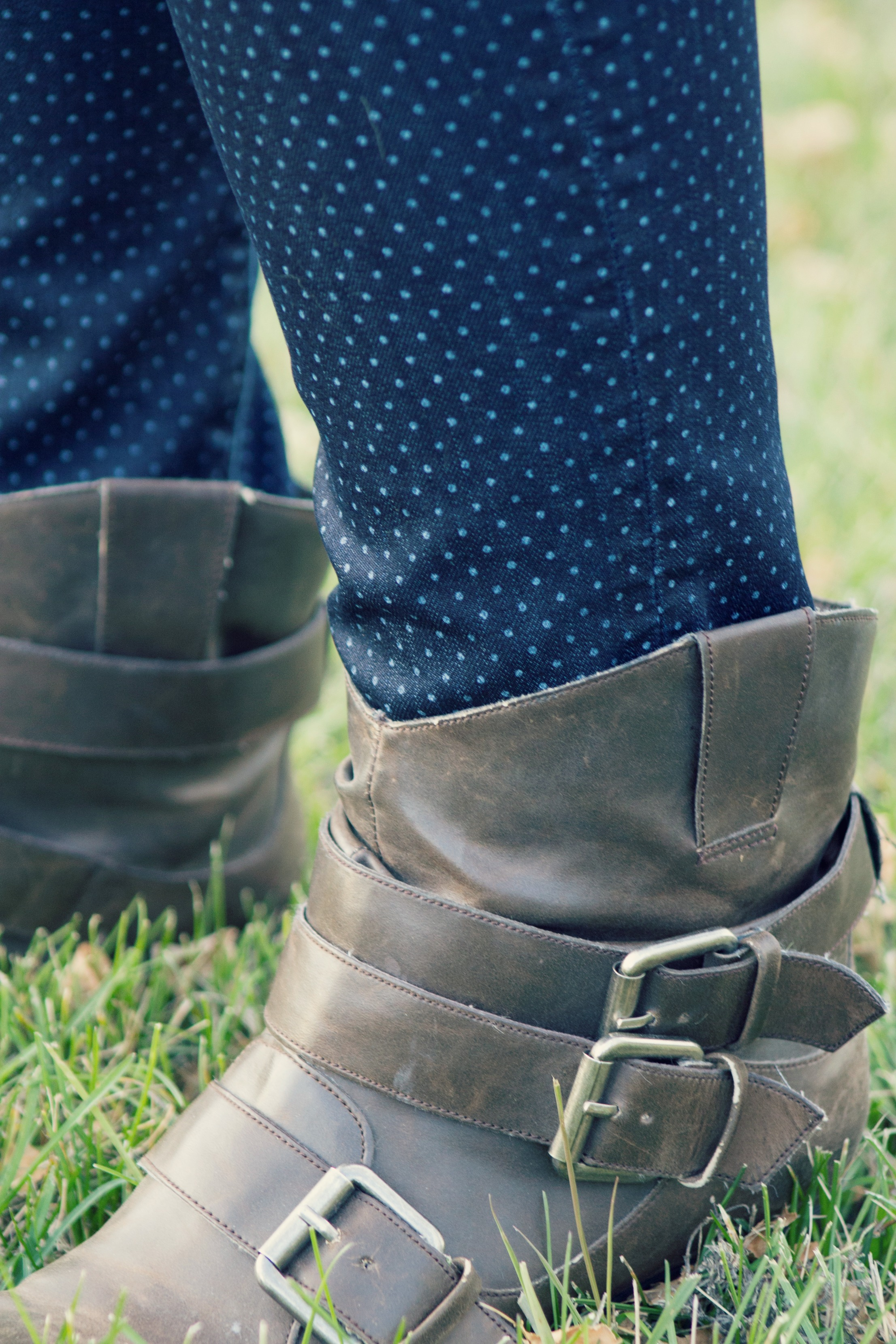 fall ankle boots, polka dots