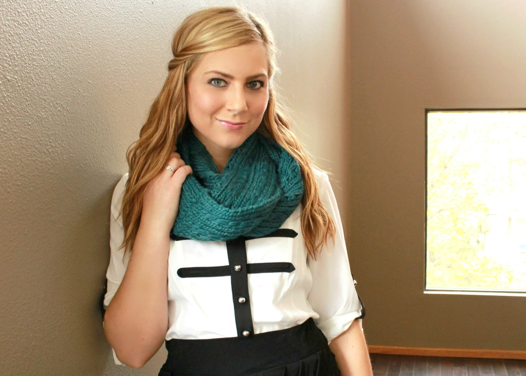 Sears Scarf, #shop, #ThisisStyle, #cbias, Sears Style, outfit, date night outfit, blouse, black and white blouse, military inspired blouse, 2013 trend, black & white outfits, Sears