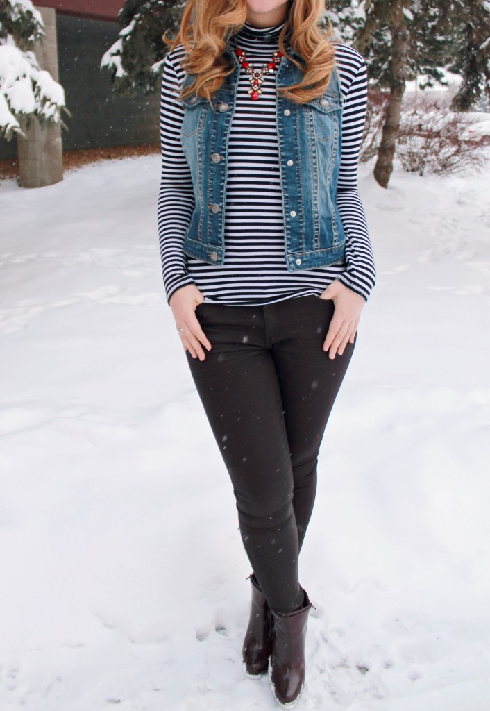 JustFab Boots and Coated Skinny Jeans