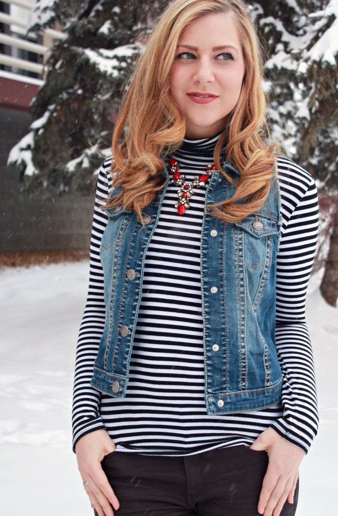 Striped Turkleneck + Denim Vest