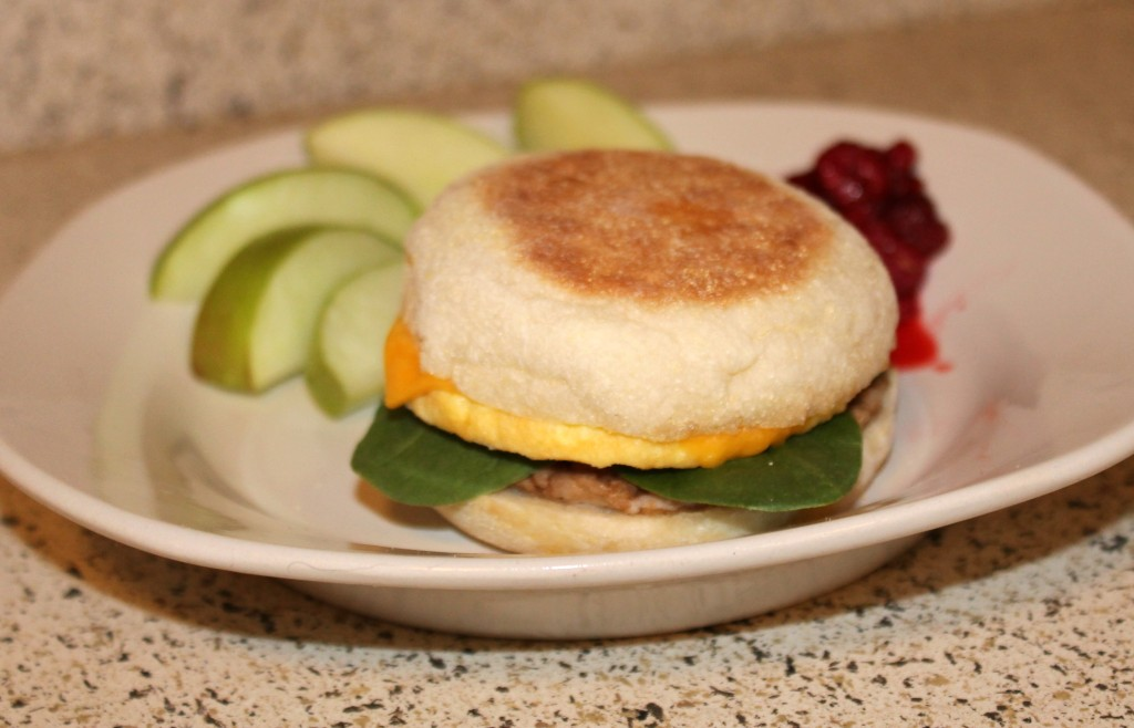 Add spinach to get a serving of veggies with your Jimmy Dean breakfast sandwich #RedboxBreakfast #PMedia #ad