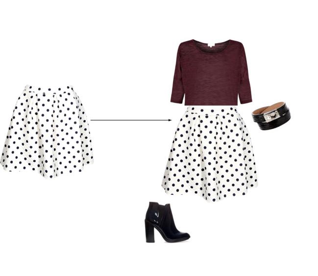 Feminine Edge _ Polka Dot Skater Skirt