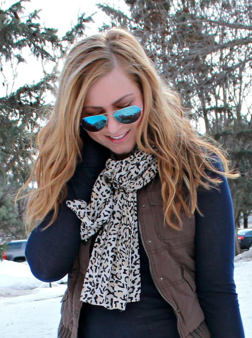 Navy shirt, leopard scarf