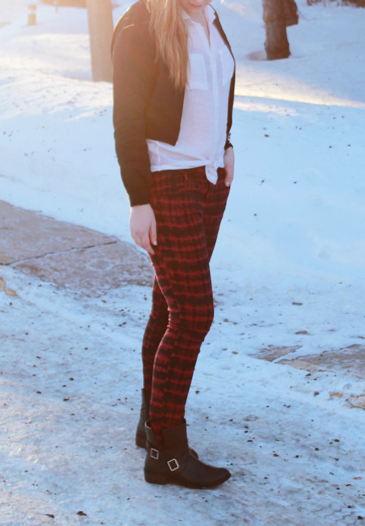 Red Patterned Pants + Booties