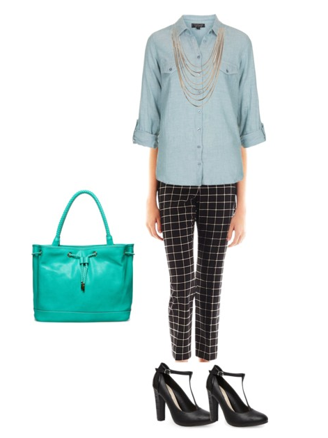 Teal Bag + Patterned Pants