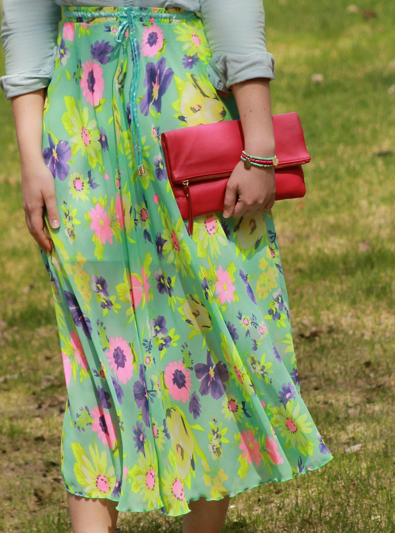 chambray + floral print maxi skirt