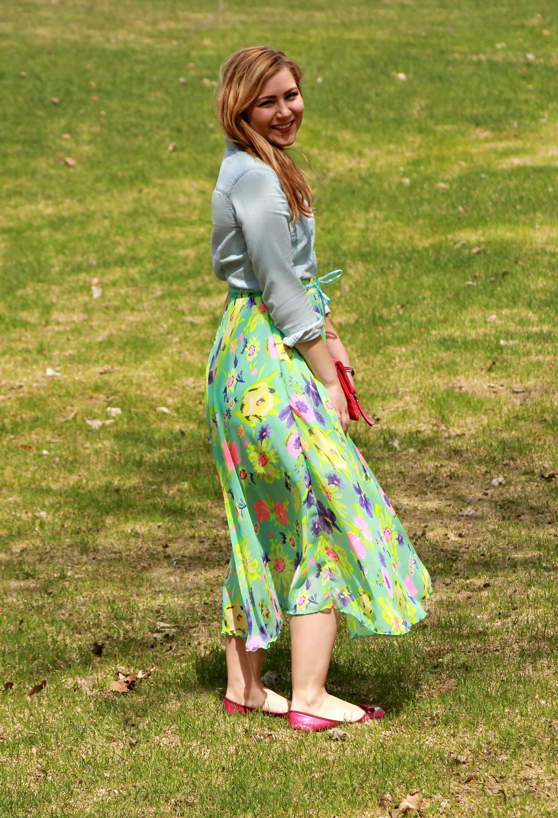 spring outfit, floral maxi skirt and chambray