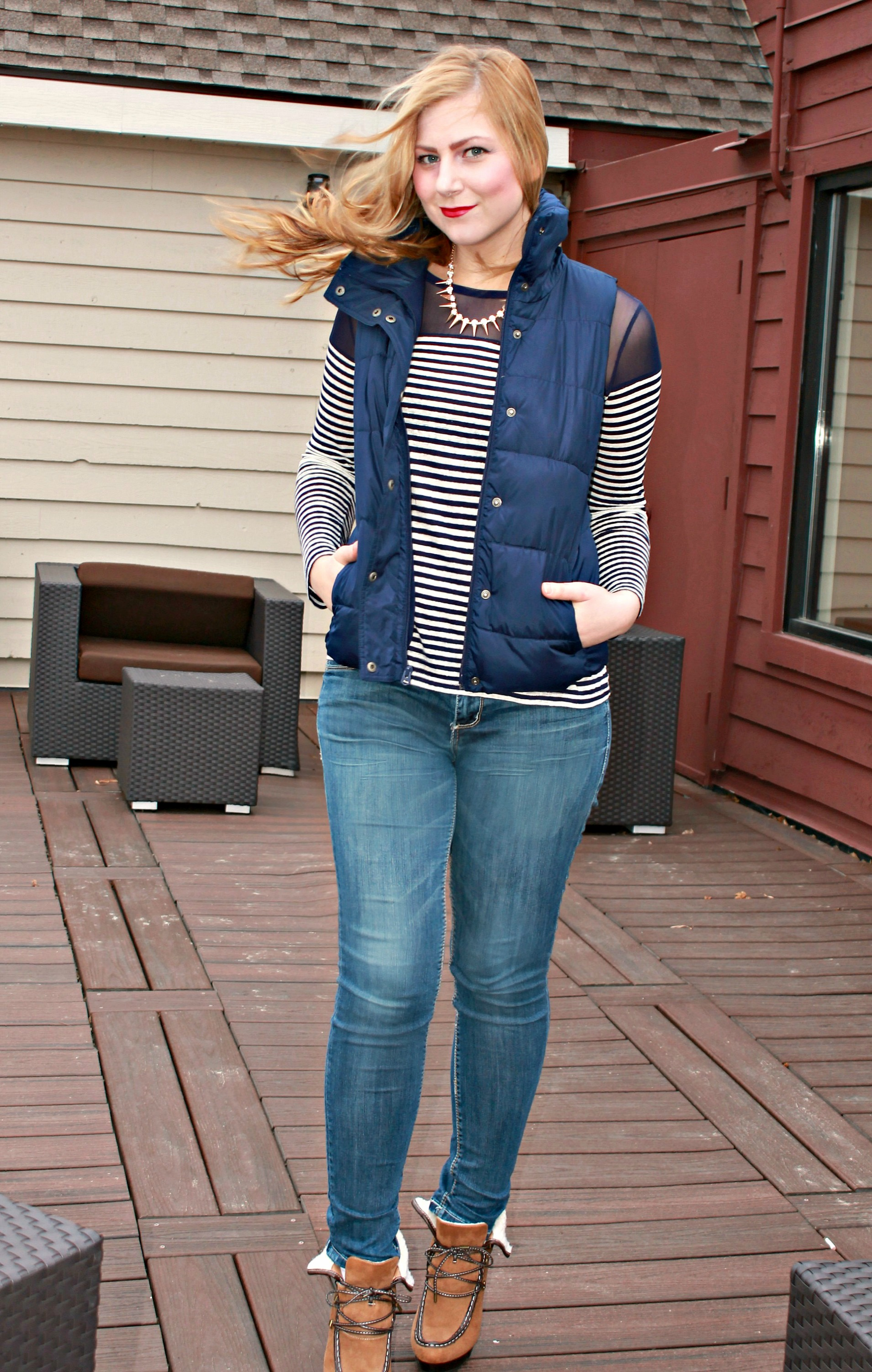 striped shirt + heeled booties