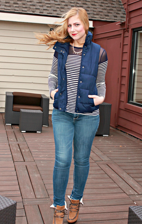 striped shirt + heeled booties