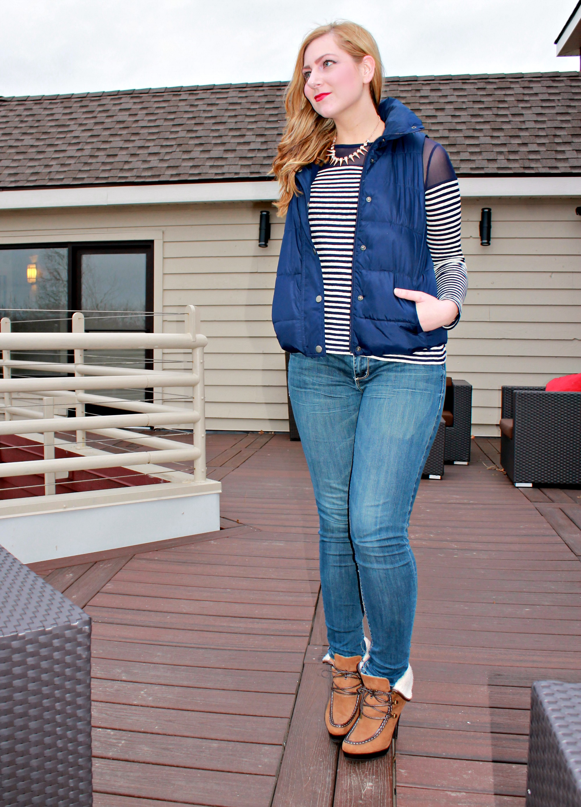 striped top, wedged booties