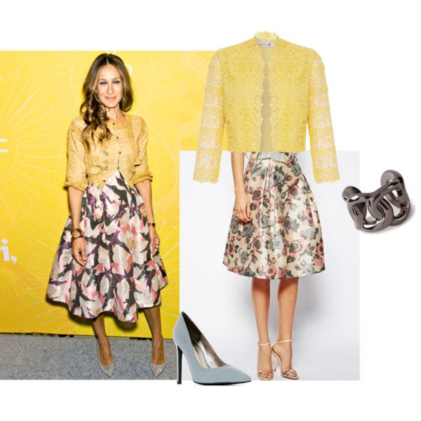 Sarah Jessica Parker fashion; floral skirt and lace jacket