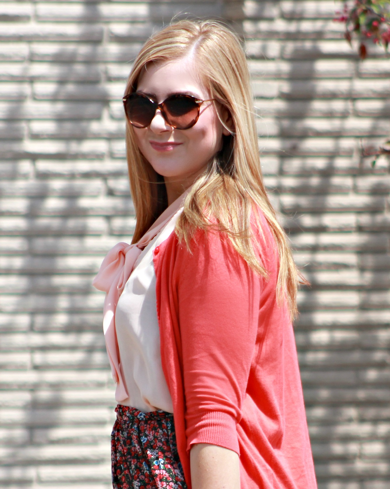 Bow-Tie Blouse + Coral Cardigan