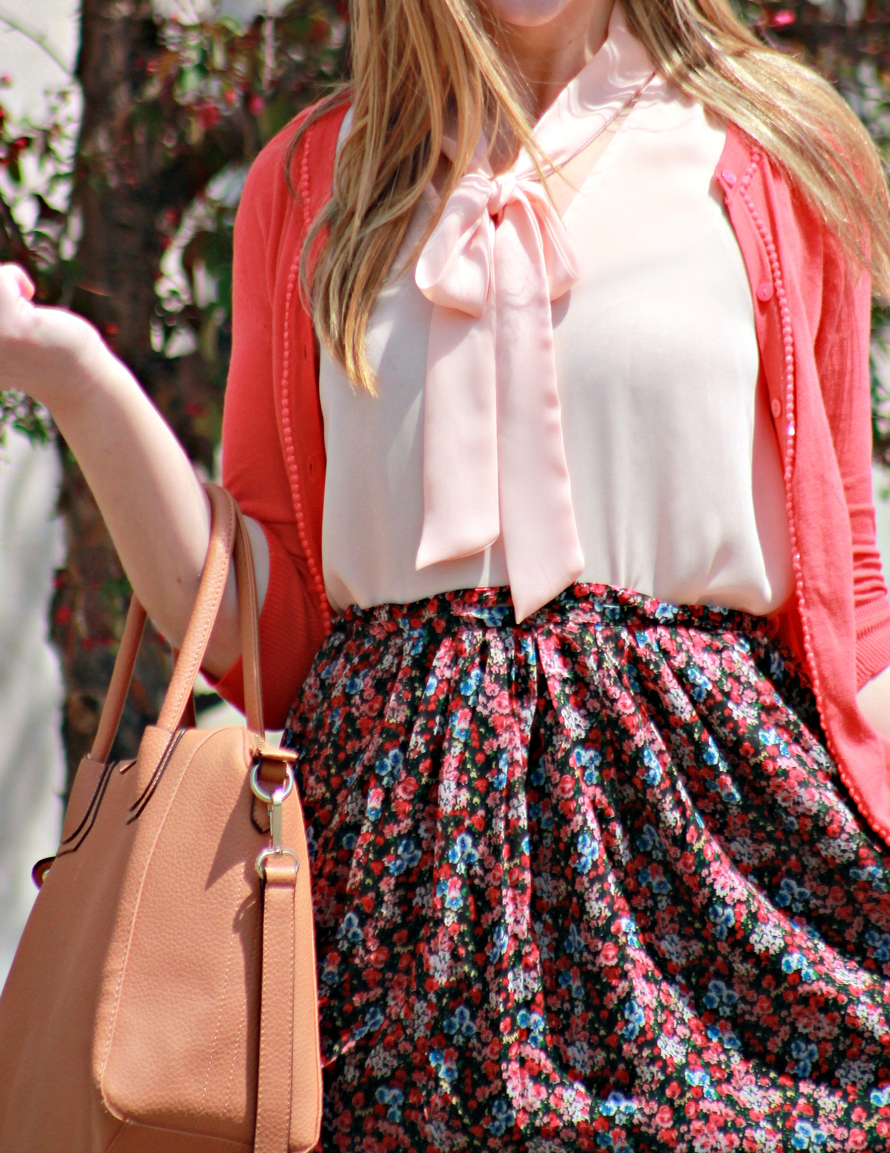 Bow-Tie Blouse + Floral Skirt