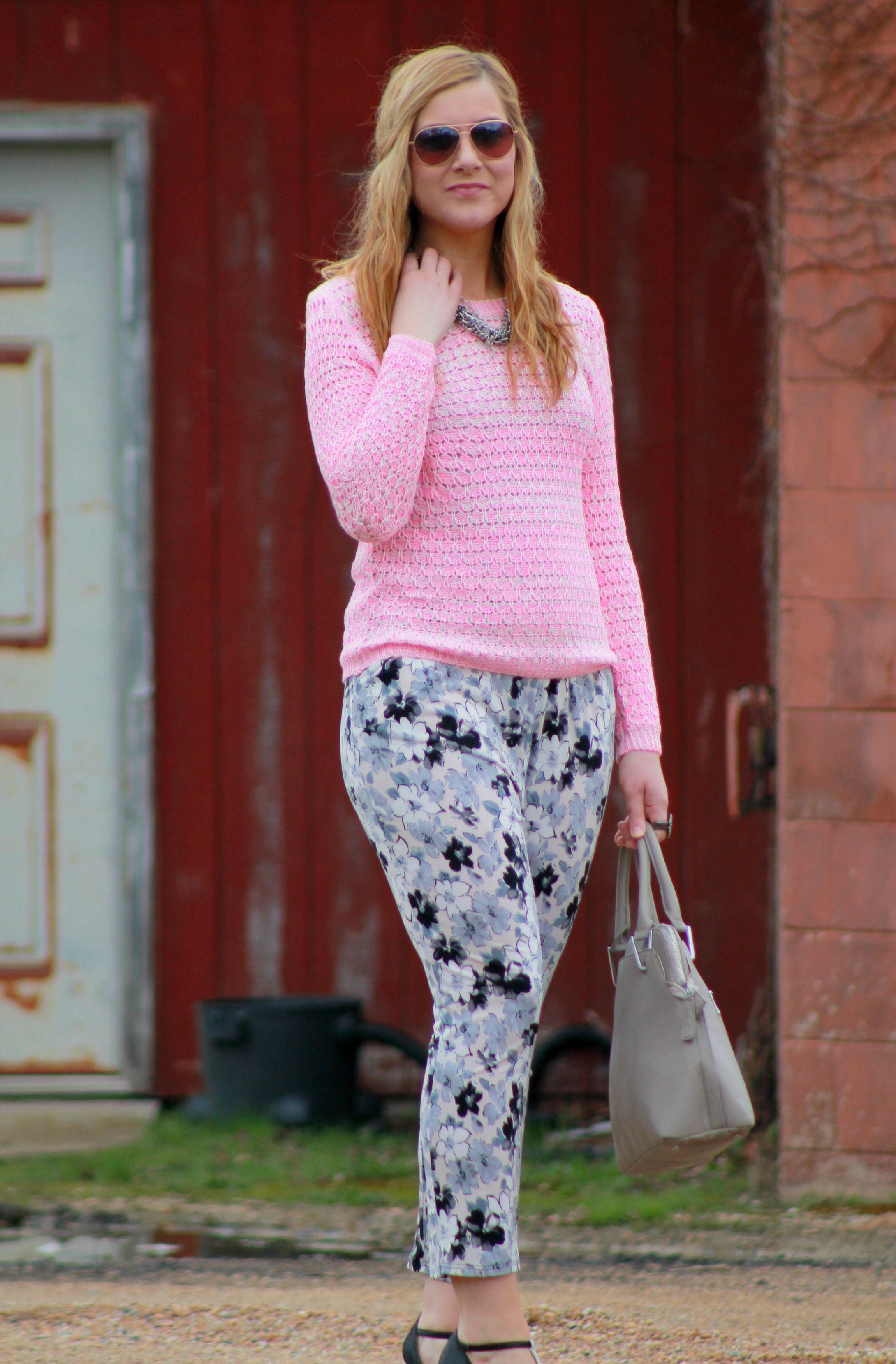 Floral Pants + Neon Pink Sweater