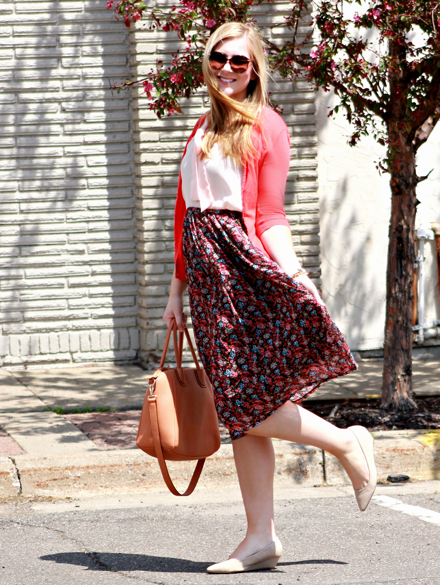 Floral Print Skirt + Bow-Tie Top + Coral Cardigan