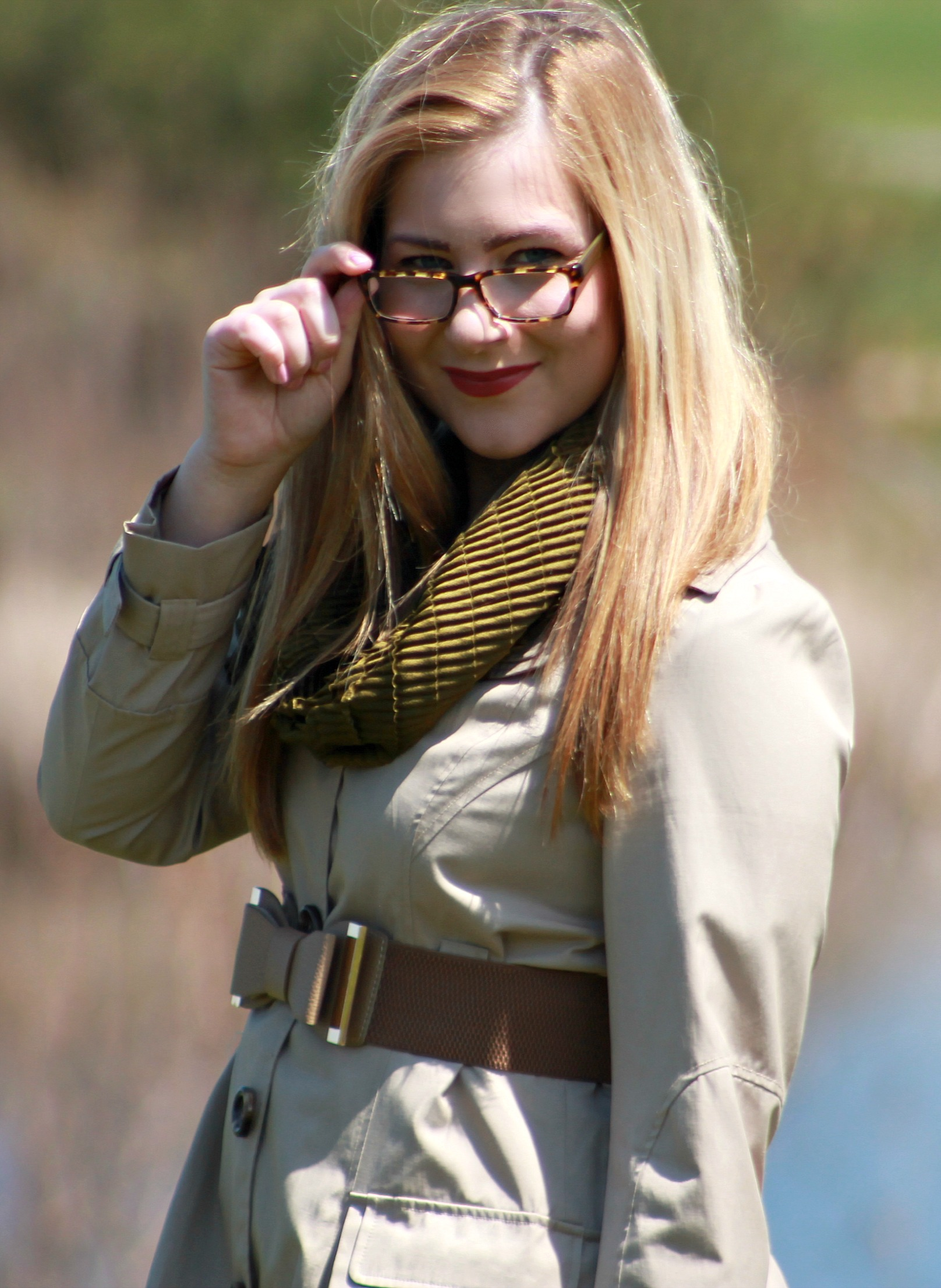 Olive green scarf + bow belt