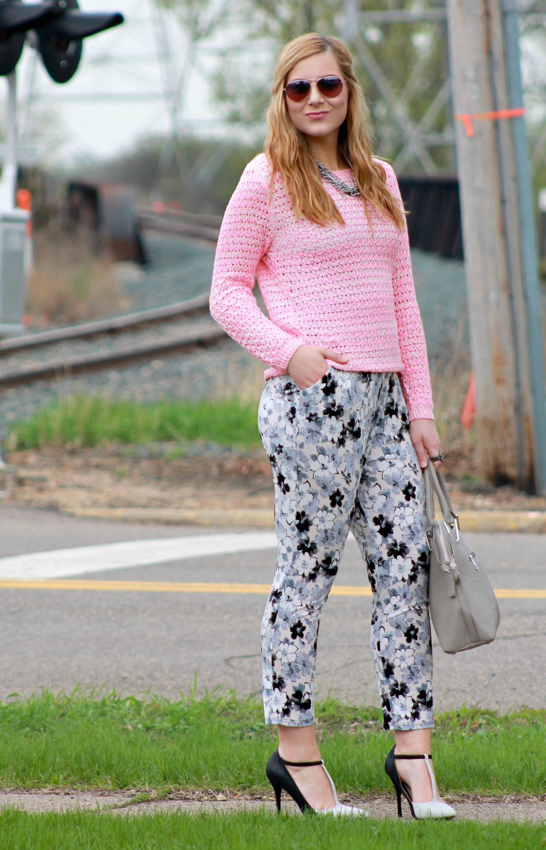 Pink Neon Sweater + T-Strap Heels