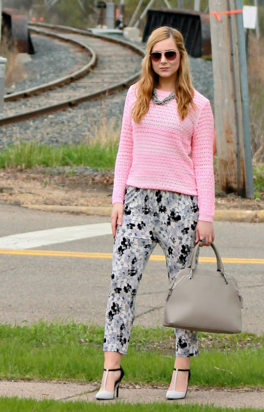 Pink Sweater + Floral Pants