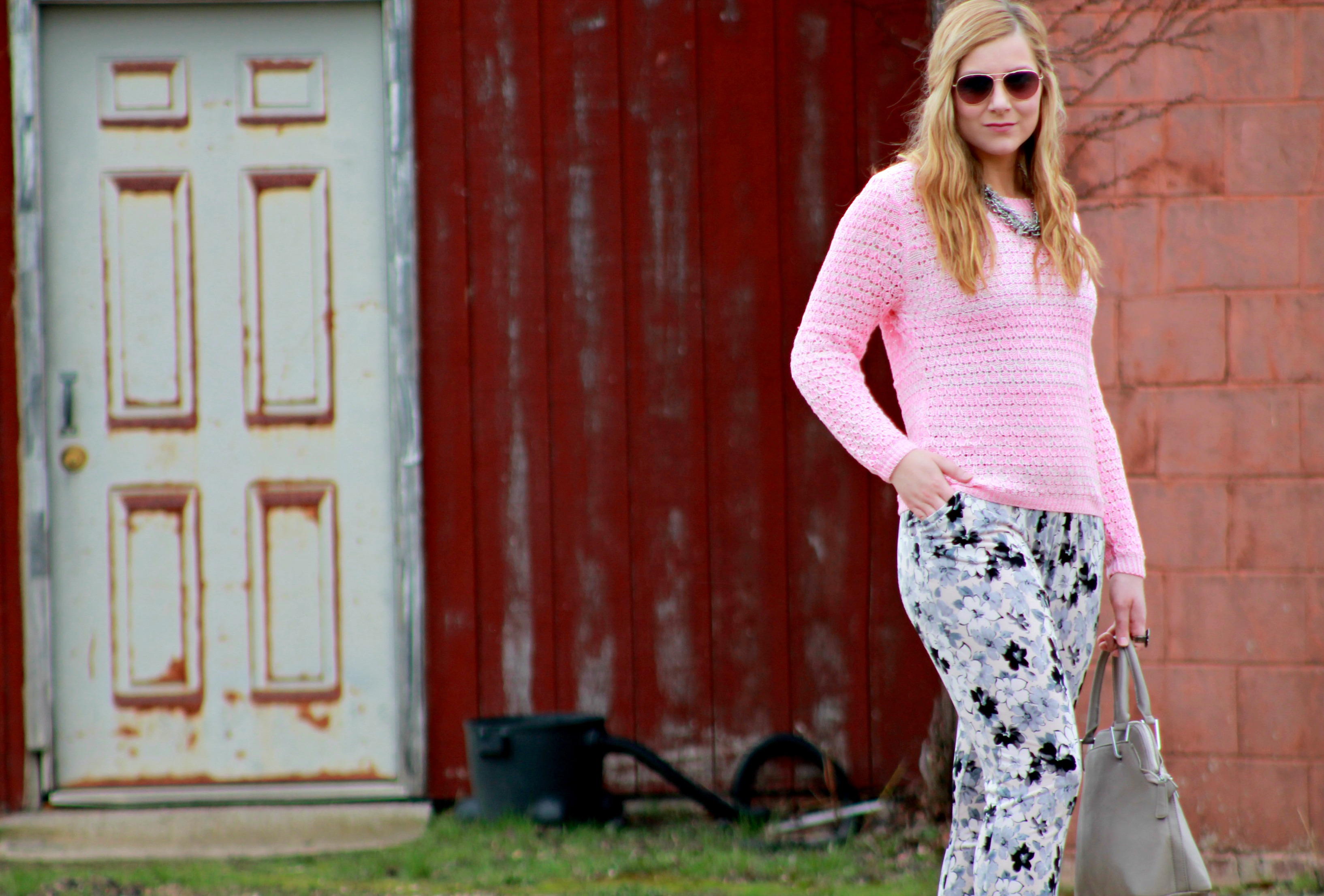 Pink Sweater + Floral Trousers