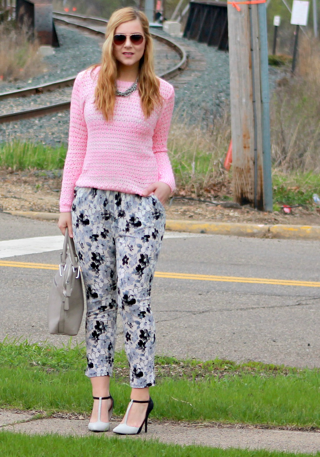 Pink Sweater, Floral Pants, T-Strap Heels
