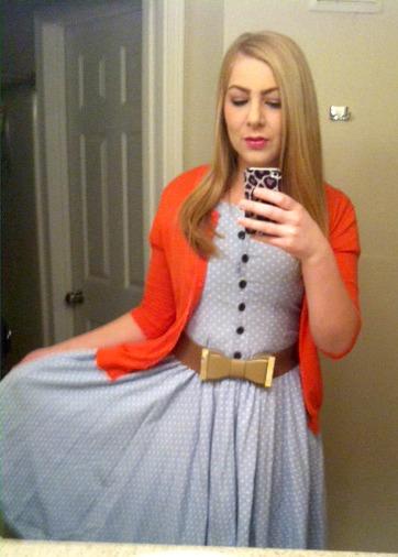 Polka Dot Dress + Bow Belt + Bright Cardigan