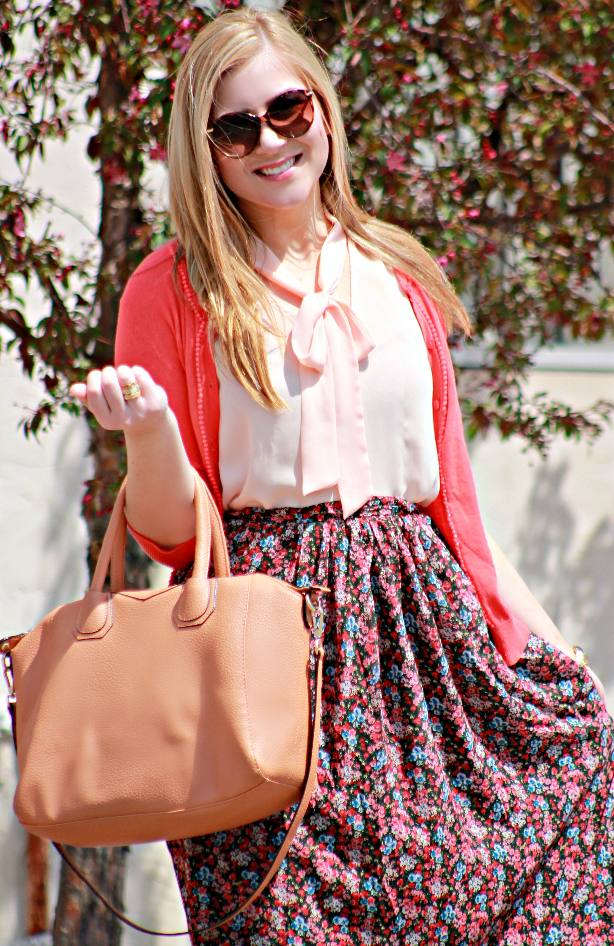 Spring Work Outfit with Tan Handbag