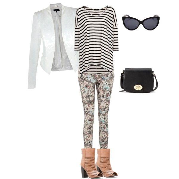 Striped Top + White Blazer + Floral Jeans