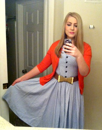 Thrift Style Thursday Polka Dot Dress + Bow Belt + Bright Cardigan