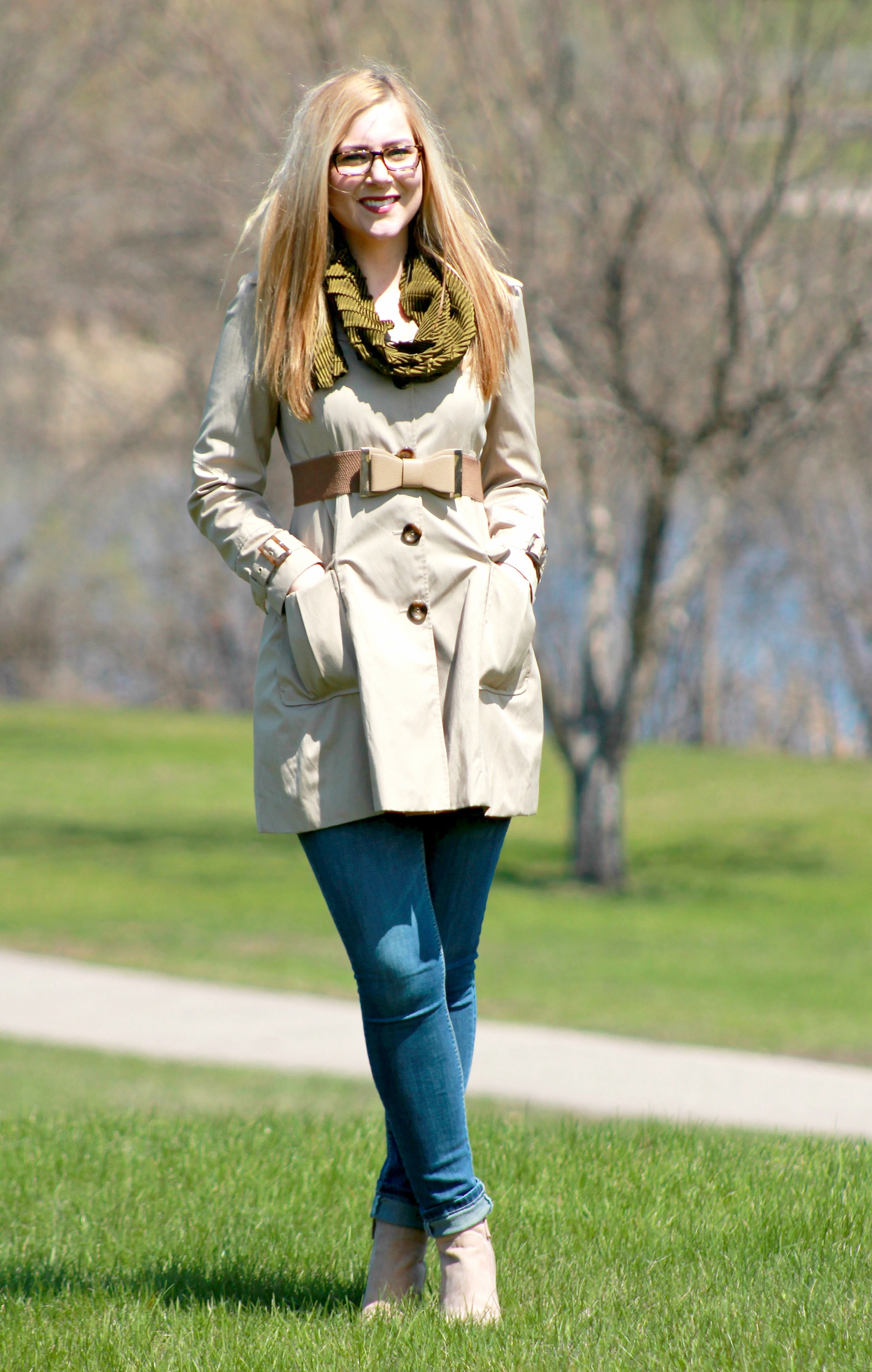 olive green scarf + trench coat