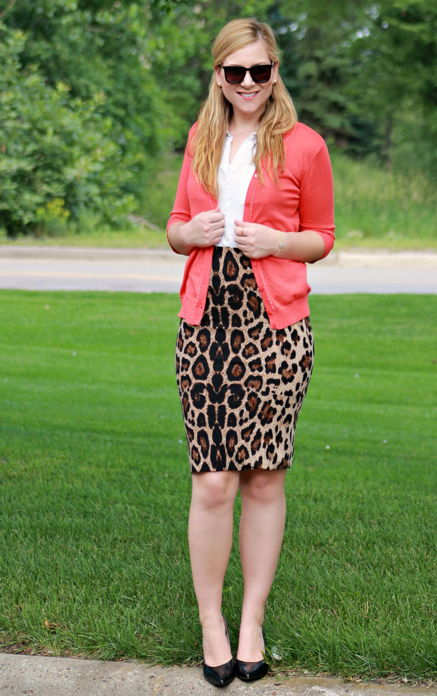 Coral Cardigan + Leopard Pencil Skirt