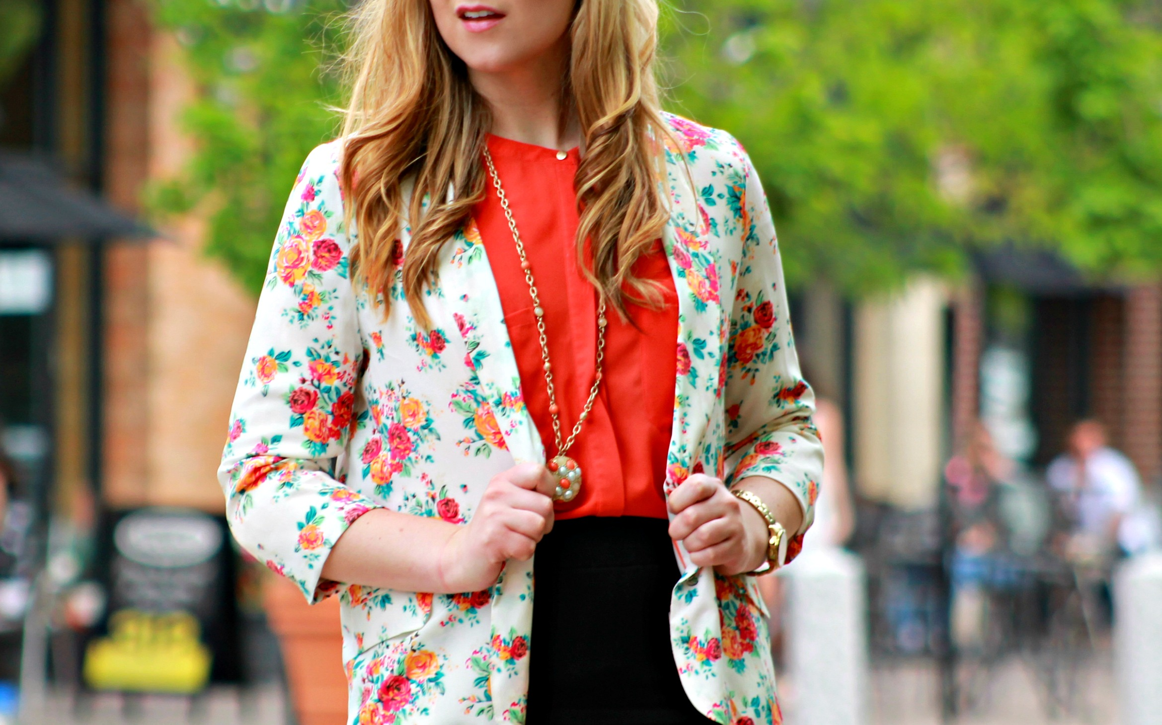 Floral Blazer + Long Gold Chain Necklace