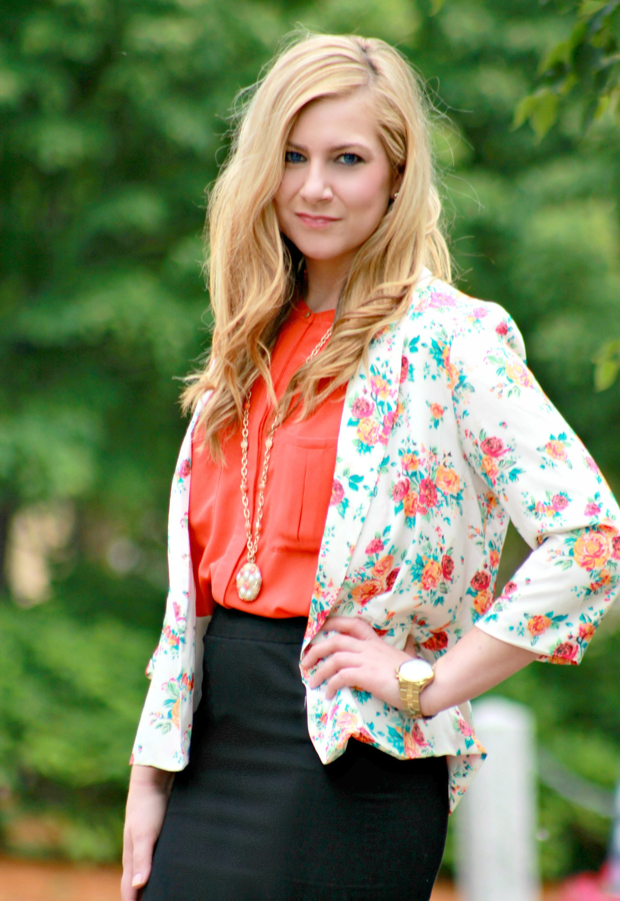 Floral Blazer + Orange Blouse + Gold Watch