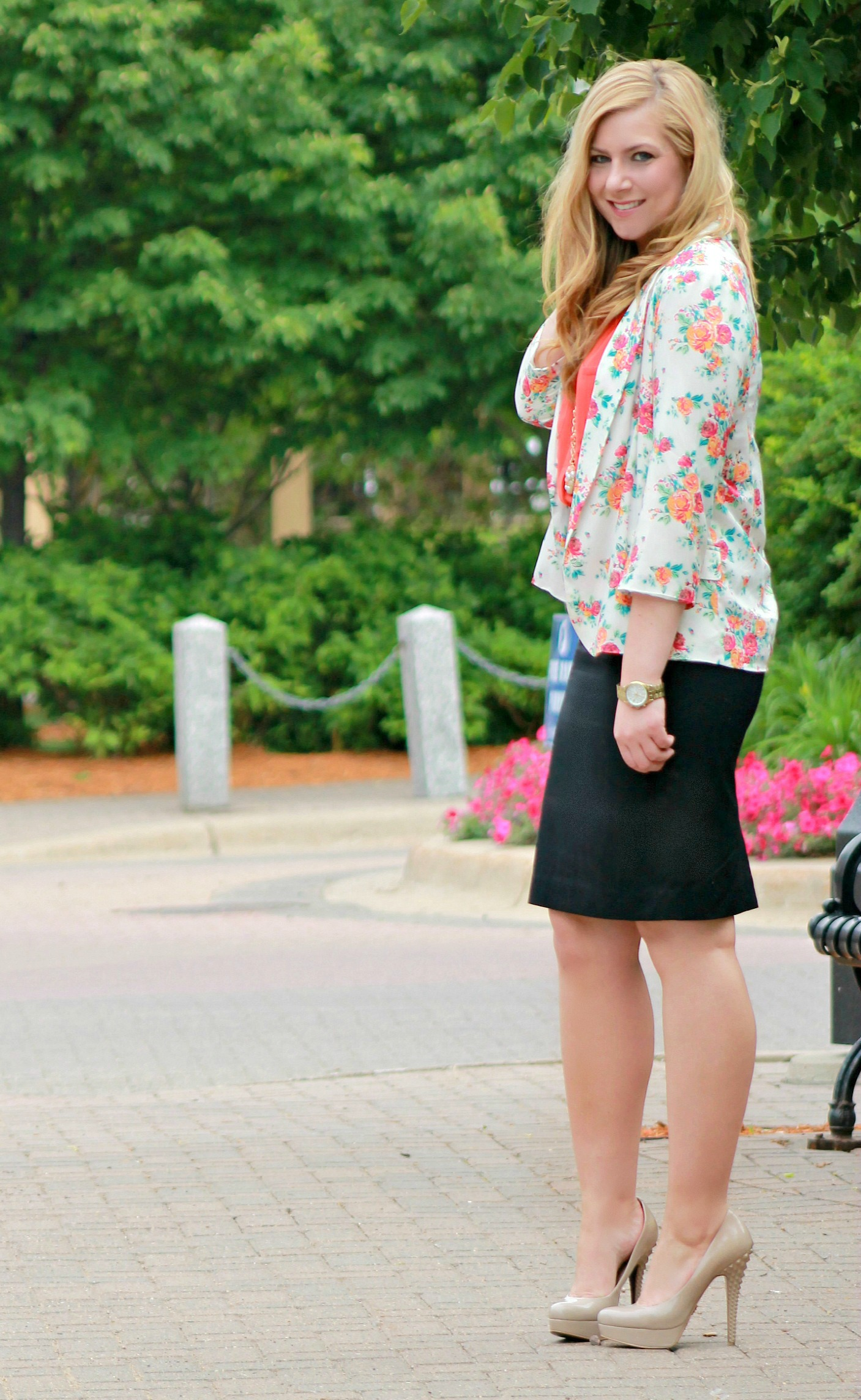 Floral-Blazer-+-Pencil-Skirt-+-Nude-Heels1