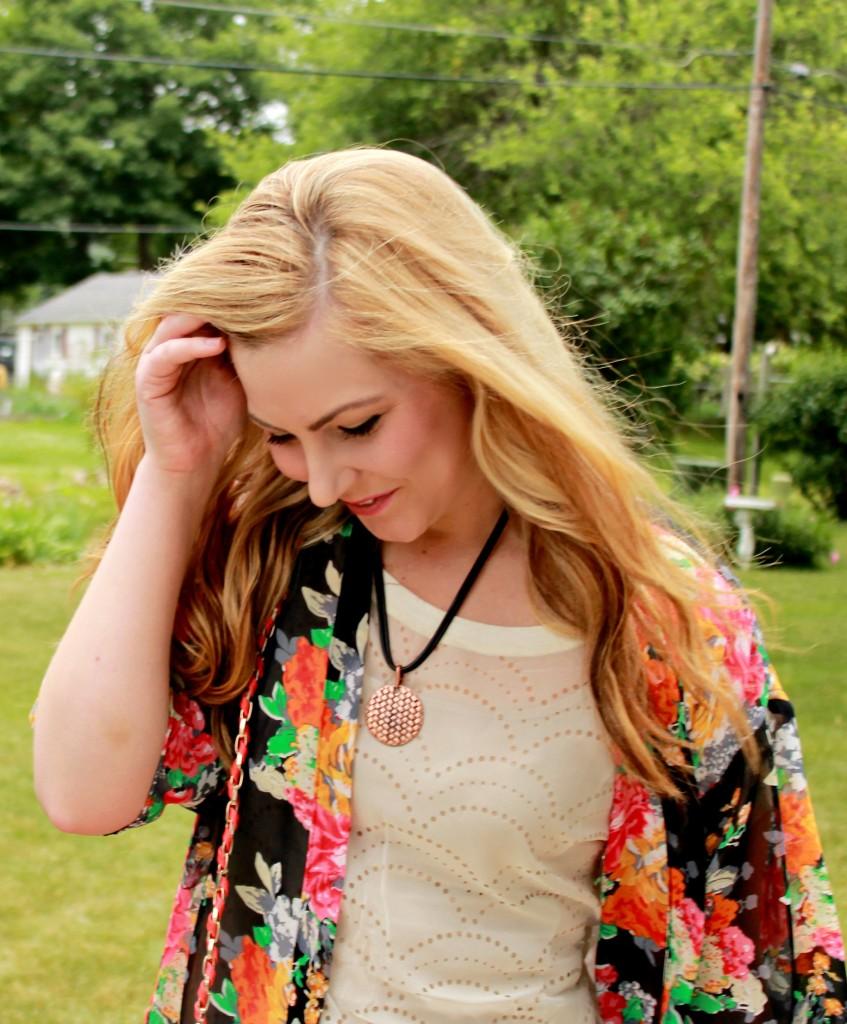 Floral Kimono + Bronze Necklace